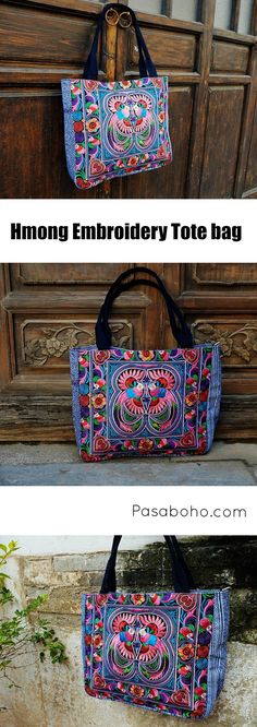 $46.90 ( Free Shipping Worldwide ) - Hmong Embroidery Tote bag from Pasaboho. Fashion trend and styles from hippie chic, modern vintage, gypsy style, boho chic, hmong ethnic, street style, geometric and floral outfits. We Love boho style and embroidery stitches. Hippie girls with free spirit sharing woman outfit ideas and bohemian clothes, cute dresses and skirts.