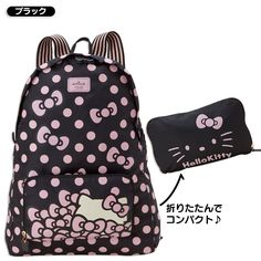 Hello Kitty Foldable Backpack Hidden Face Black SANRIO JAPAN