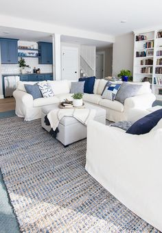Lake House Basement Family Room - The Lilypad Cottage - Lake House family room blue and white decor Informations About Lake House Basement Family Room – T - Lake House Family Room, Blue Family Rooms, Basement Family Rooms, Blue And White Living Room, Basement House, Wet Basement, Walkout Basement, Home And Family, Coastal Living Rooms