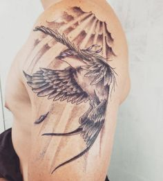 """dragynville: """"Jensen's tattoo: a jaybird (""""aka J-Bird or simply 'Birdie'"""") for JJ, with a blindfold which symbolizes unconditional love (love is blind). ♥ """" For all the 'jaybirds' in his life? ;)"""
