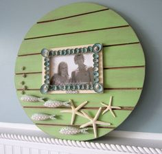 Playa decoración Seashell pared marco  por beachgrasscottage, $55.00