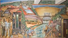 Mural titled California Industrial Scenes by John Langley Howard. The mural location is Coit Tower, North Beach. Mural Art, Murals, Wall Art, Coit Tower San Francisco, Art Deco Posters, North Beach, Art And Architecture, Color Splash, Photo Galleries