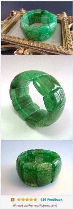 Natural Aventurine Chunky Stretch Bracelet, Jade Green, Vintage #bracelet #vintage #aventurine #stretch #greenjade https://www.etsy.com/RenaissanceFair/listing/576067707/natural-aventurine-chunky-stretch?ref=listings_manager_grid  (Pinned using https://PromotePictures.com)