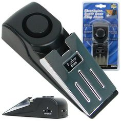 Simply place this portable alarm behind any door. If an intruder attempts to open the door, the wedge-shaped design will prevent it from opening and activate a 120 dB alarm.The alarm will scare off th