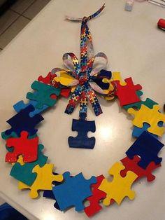 Autism Awareness Puzzle Piece Wreath Handmade by JaimesCreations2, $15.00