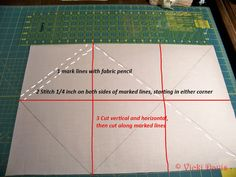 12 half square triangles (HSTs) at a time - great cleverness from Vicki Smith. Two rectangles (two fabrics) -- a continuous line of stitching - press - cut. Do it in many sizes!