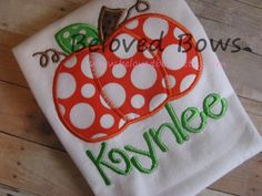 Chunky Pumpkin Applique Ruffle Shirt--Fall/Thanksgiving--Personalized on Etsy, $22.50