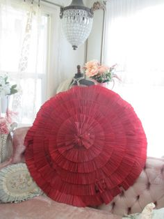 Antique Vintage Ruffled RED Crepe Paper Umbrella by BellaBordello