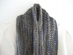 Knitted  infinity scarf, blue cowl, lace knitted cowl, blue infinity scarf, wool infinity scarf, wool cowl, warm indigo cowl by DutchDaisyDesign on Etsy