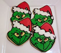 The Grinch Christmas Sugar Cookie Decorated by charmingtreats4you, $45.00