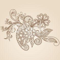 Hand-Drawn Abstract Henna Mehndi Flowers and Paisley royalty-free stock vector art