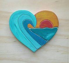 Items similar to Wooden Sunset Wave Heart Sign, Beachy Home Decor, Ready to Ship on Etsy Heart Sign, Heart Art, Sea Crafts, Wood Crafts, Wood Painting Art, Wood Art, Diy Wall Art, Diy Art, Intarsia Wood