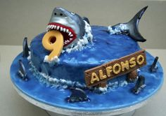 Photograph Of Jaws Shark Theme Cake For 9 Year Old cakepins.com