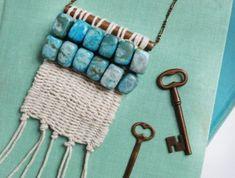macramé technique, collier ethnique, cailloux turquoise, clé ancien, noeud macramé