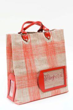 handmade heavy canvas shopper fire red. €475,00 - chris van veghel