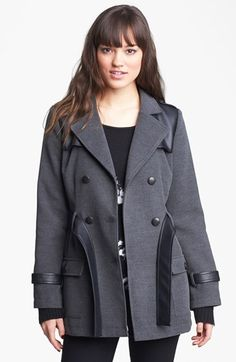 Tulle Faux Leather Trim Peacoat (Juniors) (Online Only) available at #Nordstrom