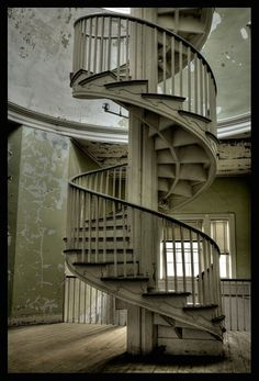 abandoned state hospital spiral stairs