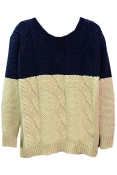 ROMWE | Color Block Rhombus Dark-blue Jumper, The Latest Street Fashion