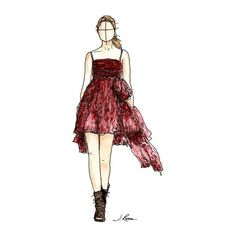 Dolce and Gabbana Watercolor Fashion Sketch Print ($10) ❤ liked on Polyvore