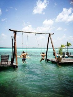 I want to go there to swing over the water, so cool!