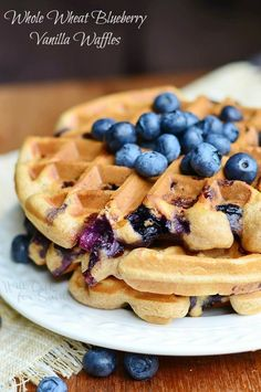 Whole Wheat Blueberry Vanilla Waffles | from willcookforsmiles.com