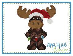 Moose with Christmas Lights Applique Design