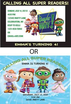 24 best super why birthday 4th bday images on pinterest super why super why birthday party invitations wenvelopes custom filmwisefo