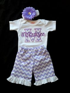 Baby girl clothes monogram onesie personalized onesie by lilmamas personalized baby girl clothes newborn girl take home outfit chevron baby girl ruffle pants headband baby gift set toddler girl clothes negle Choice Image