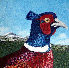 Phillip the Pheasant - acrylic on canvas #pointillism #art