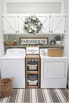 Below are the Farmhouse Laundry Room Storage Decoration Ideas. This post about Farmhouse Laundry Room Storage Decoration Ideas was posted … Small Laundry Rooms, Laundry Room Design, Decorate Laundry Rooms, Vintage Laundry Rooms, Laundry Area, Laundry Decor, Basement Laundry Rooms, How To Decorate Living Room, Laundry Room Counter