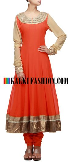 Buy Online from the link below. We ship worldwide (Free Shipping over US$100) http://www.kalkifashion.com/whats-new/o-j-salwar-kameez/orange-anarkali-suit-with-embroidered-neckline.html Orange anarkali suit with embroidered neckline