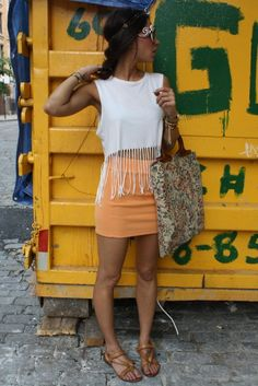 Very Tracey, tight skirt, stomach showing very chic and fun.... PERFECT for spring break!!