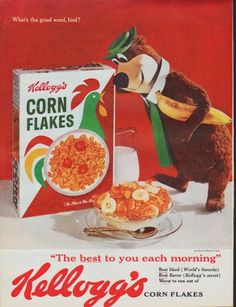 """Description: 1961 KELLOGG'S CORN FLAKES vintage magazine advertisement """"What's the good word, bird?"""" -- What's the good word, bird? """"The best to you each morning"""" Kellogg's Corn Flakes -- Size: The dimensions of the full-page advertisement are approximately 10.5 inches x 13.5 inches (26.75 cm x 34.25 cm). Condition: This original vintage full-page advertisement is in Excellent Condition unless otherwise noted."""