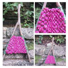 Branch Woven Wall Hanging in Pink Vibrant Colors by OurCraftedLife
