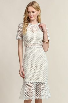 Take a look at this Soiéblu Ivory Crochet Lace Midi Dress today! Crochet Mermaid, Crochet Lace Dress, Lace Mermaid, Lace Midi Dress, Denim Crafts, Midi Cocktail Dress, Mode Chic, Business Dresses, Crochet Clothes