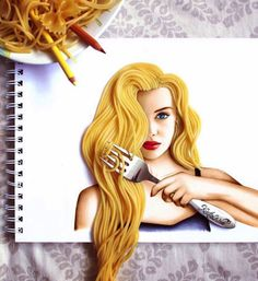 makeuphall: GALLERY: 19 Year Old Artist Kristina Webb Uses Objects and Pop Cultural Figures to Create Vibrant Compositions. 15 Amazing illustrations in the page. Kristina Webb Drawings, Kristina Webb Art, 3d Drawings, Colorful Drawings, Pencil Drawings, Hair Drawings, Drawing Hair, Drawing Faces, Fashion Design Drawings