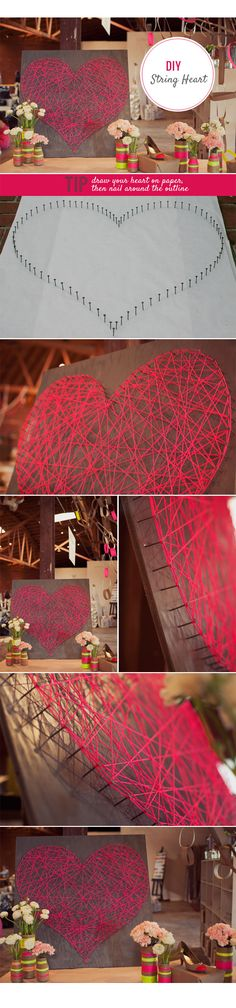 DIY: String Heart - love this! Can't wait to make one for my room after I get my walls painted :)