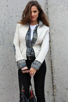 Fabulous combined denim jacket | Via stylelovely.com