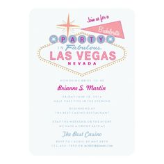 Retro Las Vegas Sign Bachelorette Party Invitation