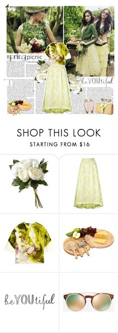 """""""spring picnic"""" by helena99 ❤ liked on Polyvore featuring National Tree Company, Dolce&Gabbana, Picnic Time, Valentino, Spring, floral, picnic and strawbags"""