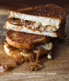 This grilled cheese sandwich with mushrooms and onions sounds amazing but it's the manchego butter spread that has me sold