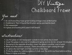 i am chalkboard obsessed. smart & easy idea for an old picture frame!