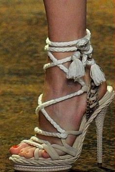Christian Dior rope sandals with tassels.