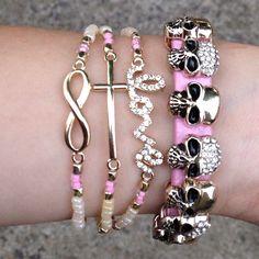 las amo, bracelets skull cross love <3 pink