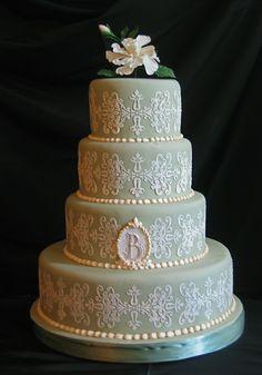 sage green wedding cake with sugar gardenia — Green