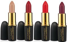 MAC Pedro Lourenço Lipstick ($17.50 U.S. / $21.00 CDN) (Limited Edition)... • Peach Beige – Light pinky nude (Amplified) • Ruby – Mid-tone blue red (Amplified) • Roxo – Deep red (Amplified) • True Red – Vivid bright coral red (Amplified)  #MAC #MAC2014 #Mac #MAC2014 #Beautynews #MACnews #Beauty2014 #PedroLourenco2014