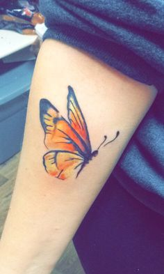 Watercolor butterfly tattoo. Butterflies represent freedom and transformation. Absolutely love this piece.