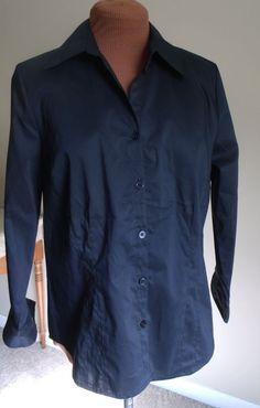 Kim Rogers Petites Size PM Black 3/4 Sleeve Button Down Blouse LN #KimRogers #ButtonDownShirt #Casual