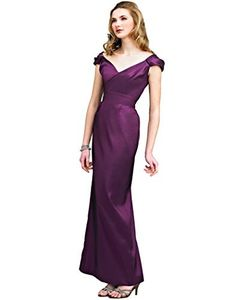 """Mother of the Bride Dresses by Landa Social Occasions style MD563. An elegant long gown features a V-neckline with tip-of-the-shoulder cap sleeves and a V-back. Slight pleating at the natural waist and a long slim skirt with a back slit. Aubergine, size 12: 41"""" Bust, 33.5"""" Waist, 43"""" Hip, 59"""" Hollow to Hem."""