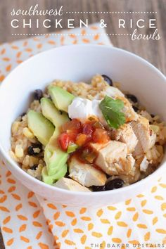 Southwest chicken and rice bowls - a one pot meal that's packed with flavor, and healthy and delicious! www.thebakerupstairs.com